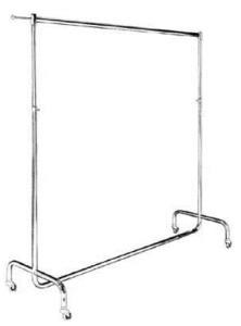 Konfektionsständer höhenverstellbar von 110-190 cm aus ø32mm Rohr, Tragestange, Abhängearm und Ausziehstangen verchromt mit Rollen ø5 cm 180 cm lang beschichtet o. verchromt