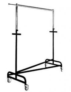 Transportrollständer schwere Bauart, ganz verschweißt stapelbar aus ø32 mm Rohr Tragestange aus Ovalrohr 35x20x2mm, Ausziehstangen und Abhänge-Arm verchromt mit Rollen ø10 cm,  150 cm lang, höhenverstellbar von 120 - 200 cm beschichtet