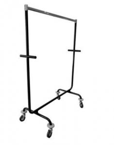 Transportrollständer stapelbar aus ø32 mm Rohr Tragestange aus Ovalrohr 35x20x2mm mit Rollen ø10 cm,  mit Abweisrädern,  150 cm lang, 180 cm hoch beschichtet