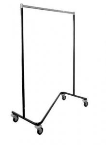 Z-Ständer stapelbar aus ø32 mm Rohr Tragestange aus Ovalrohr 35x20x2mm mit Rollen ø10 cm mit Abweisrädern beschichtet