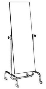 Anprobe-Schwenkspiegel aus Rundrohr Ø 32 mm Spiegelgröße 150 x 50 cm mit Rollen ø5 cm Gestell beschichtet o. verchromt