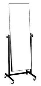 Anprobe-Schwenkspiegel aus Vierkantrohr Spiegelgröße 150 x 50 cm mit Rollen ø5 cm Gestell beschichtet o. verchromt